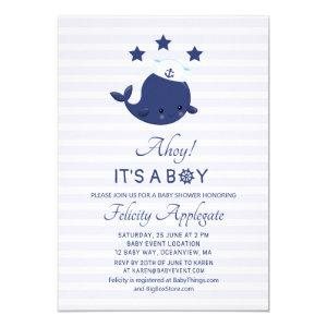 Nautical Whale Ahoy Its A Boy Baby Shower Invitation
