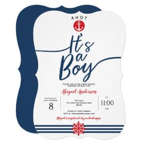 Navy, Ahoy its a boy, Modern, Stripes, Baby Boy Invitation