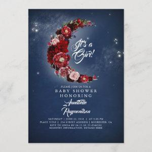 Navy and Burgundy Floral Moon Baby Shower Invitation
