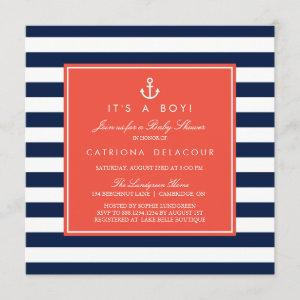 Navy and Coral Nautical Baby Shower