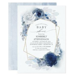 Navy and Dusty Blue Floral Modern Baby Shower Invitation