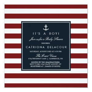 Navy and Red Nautical Baby Shower Invitation