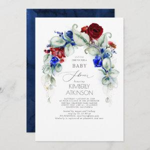 Navy Blue and Burgundy Red Floral Baby Shower
