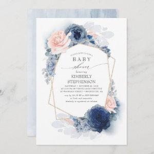 Navy Blue and Dusty Pink Floral Baby Shower