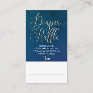 Navy Blue and Gold Diaper Raffle Ticket Enclosure Card