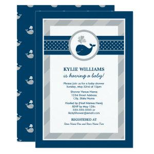Navy Blue and Gray Nautical Whale Baby Shower Invitation