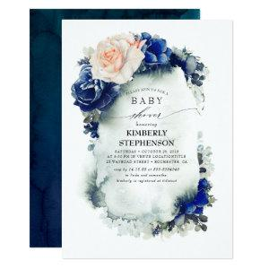 Navy Blue and Peach Floral Vintage Baby Shower Invitation