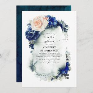 Navy Blue and Peach Floral Vintage Baby Shower