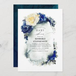 Navy Blue and Yellow Floral Vintage Baby Shower