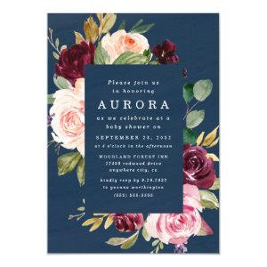 Navy Blue Burgundy Blush Pink Gold Baby Shower Invitation