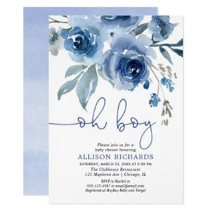 Navy blue floral elegant boy baby shower invitation