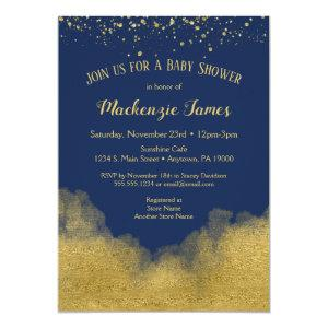 Navy Blue Gold Confetti Baby Shower Invitation Boy