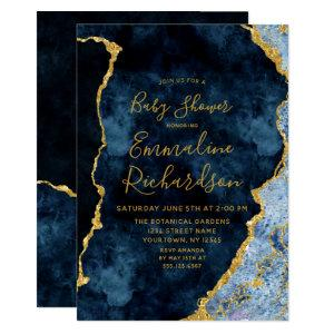Navy Blue & Gold Foil Agate Baby Shower Invitation