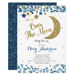 Navy Blue Gold Moon Baby Shower Invitation