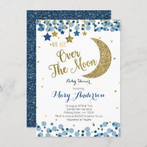 Navy Blue Gold Moon Baby Shower