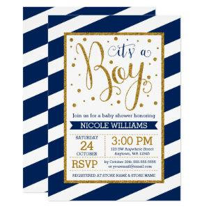 Navy Blue Gold Stripes Boy Baby Shower Invitations
