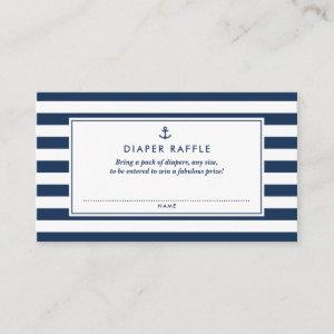 Navy Blue Nautical Diaper Raffle Baby Shower Game Enclosure Card