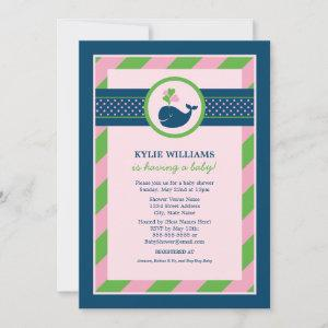 Navy Blue Nautical Whale Baby Girl Shower Pink Invitation