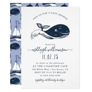 Navy Blue Nautical Whale Baby Shower Invitation