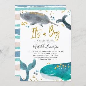 Navy Blue Oh Baby Whale Baby Shower Invitation