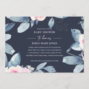 NAVY BLUSH BLUE FLORA WATERCOLOR BUNCH BABY SHOWER