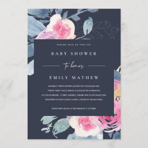 NAVY BLUSH BLUE FLORAL WATERCOLOR BABY SHOWER