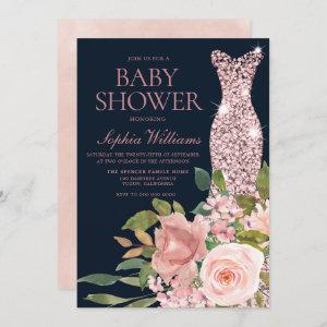 Navy & Blush Rose Gold Dress Floral Baby Shower Invitation