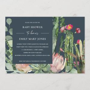 NAVY BOHO PINK FLORAL CACTUS FOLIAGE BABY SHOWER