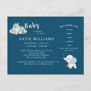 Navy Cute Funny Boy Mom Life Baby Shower by Mail Announcement Postcard
