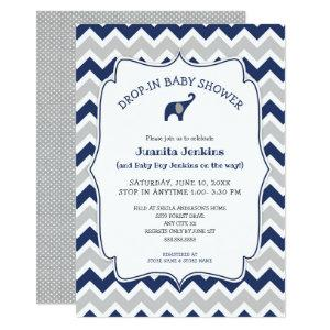 Navy elephant Drop-in baby shower / open house Invitation