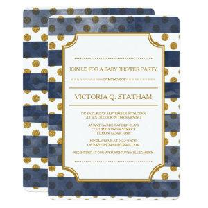 Navy Glamour Stripes Baby Shower Invites