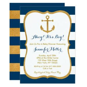 Navy & Gold Anchor Baby Shower Thank You Invitation
