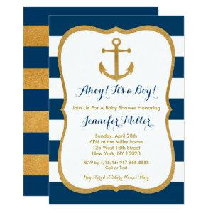 Navy & Gold Nautical Anchor Baby Shower Invitation