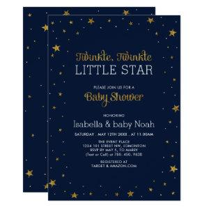 Navy & Gold | Twinkle Little Star Baby Shower Invitation