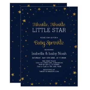 Navy & Gold | Twinkle Little Star Baby Sprinkle Invitation