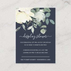 NAVY IVORY WHITE FLORAL BUNCH DISPLAY BABY SHOWER ENCLOSURE CARD