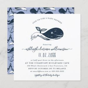 Navy Nautical Whale Baby Shower Square Invitation