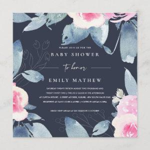 NAVY PINK BLUE FLORAL WATERCOLOR BABY SHOWER