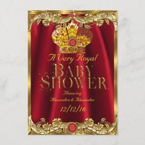 Neutral Baby Shower Royal Red Gem Gold Crown 2 Invitation