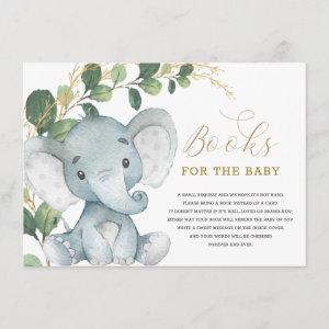 Neutral Greenery Gold Elephant Books for Baby Enclosure Card