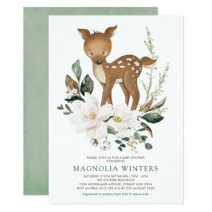 Neutral Ivory Greenery Forest Deer Baby Shower Invitation