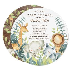 Neutral Jungle Animals Baby Shower Invitation