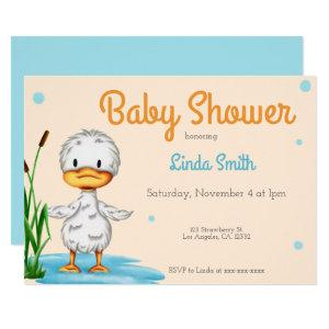 Neutral little duck in the water baby shower invitation