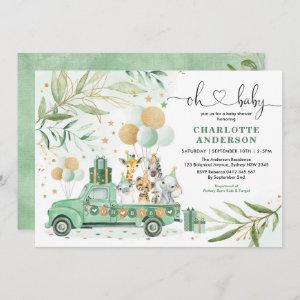 Neutral Safari Animals Greenery Gold Baby Shower Invitation