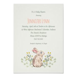 Neutral Spring Woodland Bunny Baby Shower Invite