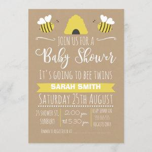 Neutral Twins Busy Bee baby Shower Invitation