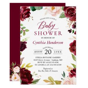 New! Lovely Cute Blush Burgundy Floral Baby Shower Invitation
