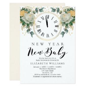 New Year New Baby Gold White Floral Baby Shower Invitation