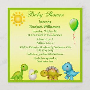 Newly Hatched Baby Dino & Dinosaurs Baby Shower Invitation