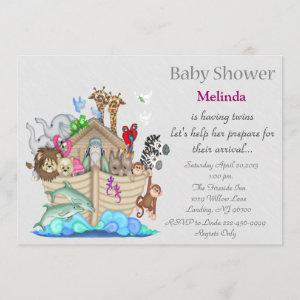 Noah's Ark Twins Baby Shower Invitation